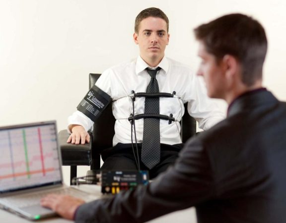 man taking a lie detector test