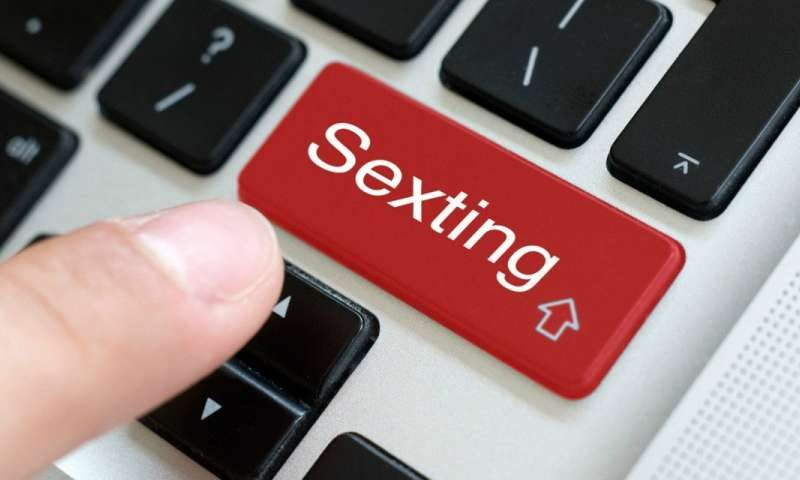 finger pushing a sexting button