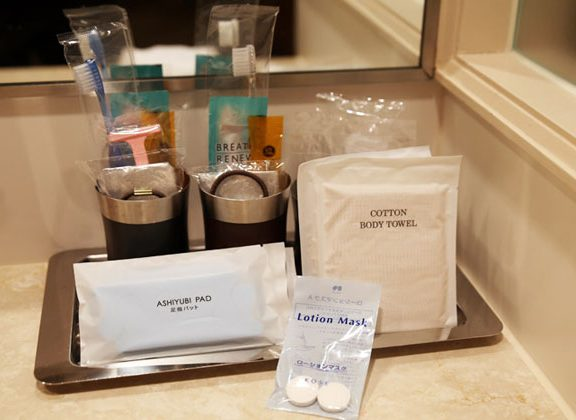 hotel toiletries on the counter
