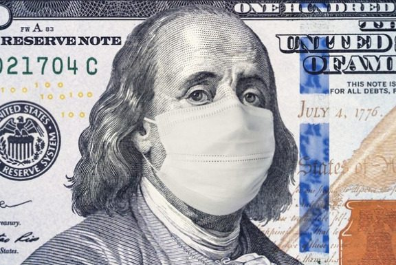 100 dollar bill with health mask