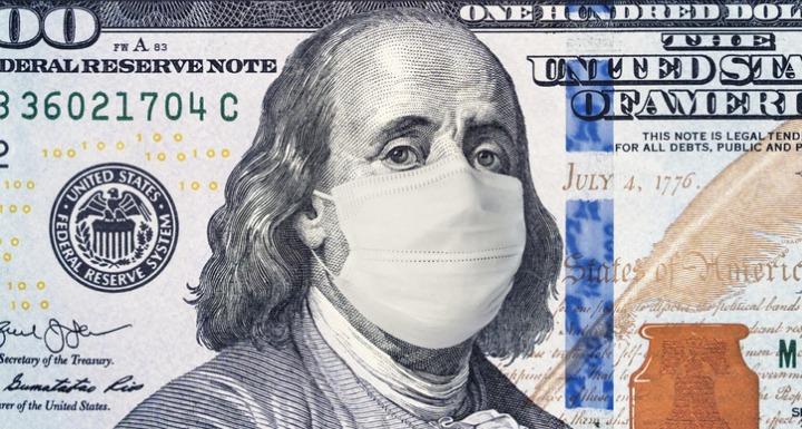 100 dollar bill with health mask